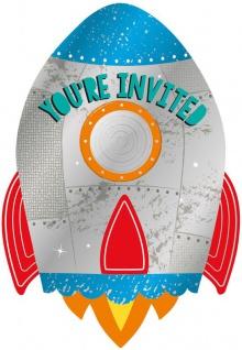 8 Einladungskarten Weltraum bunte Planeten