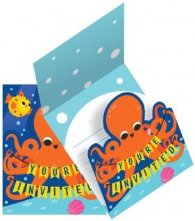 8 Einladungskarten Unterwasser Party