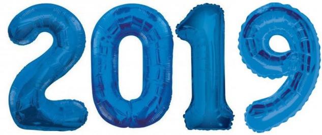 Folien Ballon Zahl 2019 in Blau - XXL Riesenzahl 86 cm zum Silvester, Neujahr, Jahreszahl - Jumbo