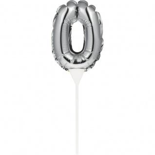Kuchen oder Deko Stecker Zahl 0 Silber selbstaufblasend