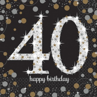 16 Servietten Glitzerndes Gold und Schwarz 40. Geburtstag