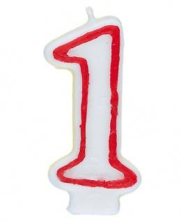 Zahlenkerze weiß mit rot 1