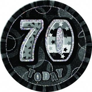 XXL Glitzer Button 70. Geburtstag Schwarz