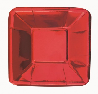 8 kleine quadratische Appetizer Teller Hochglanz Rot