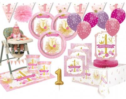 XXL 60 Teile Erster Geburtstag Rosa und Gold Party Deko Set 16 Personen