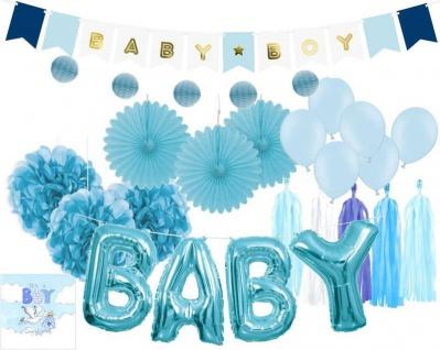 XXL 36 Teile DIY Babyshower Junge Girlande Raumdeko Deko Set Hellblau Baby Party Boy