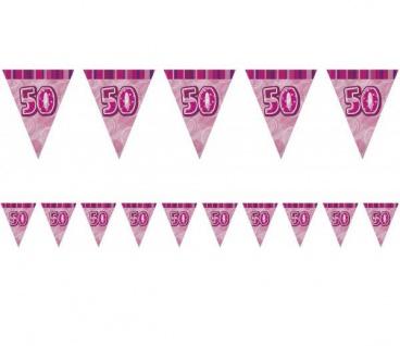 50. Geburtstag Wimpel Girlande Pink
