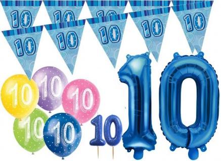 10. Geburtstag Blau Folienballon + Girlande + Luftballons + Kerze Deko Set - Zehn