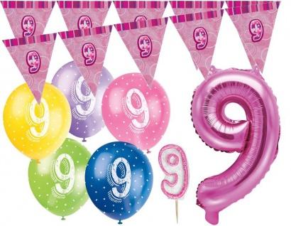 9. Geburtstag Pink Folienballon + Girlande + Luftballons + Kerze Deko Set - Neun