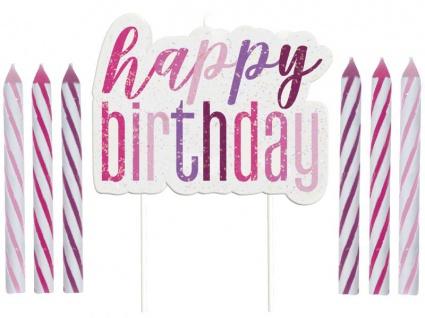Geburtstags Kerzen Set Pink Dots Glitzer Happy Birthday