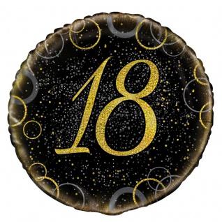 18. Geburtstag Folien Ballon Schwarz Gold
