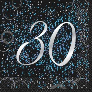 30. Geburtstag 16 Servietten in Schwarz Blau foliert