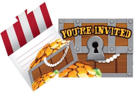 8 Einladungskarten Piraten auf der Schatzsuche