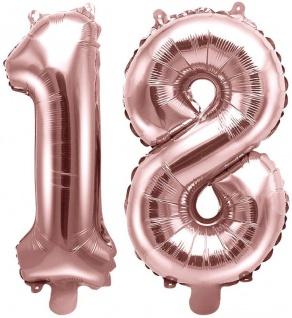 Folienballons Zahl 18 Rosegold Metallic 35 cm