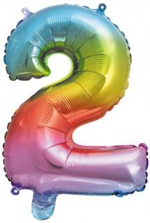 Folienballon Zahl 2 Regenbogen Metallic 40 cm