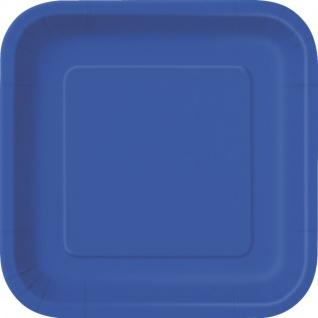 14 quadratische Pappteller Königs Blau