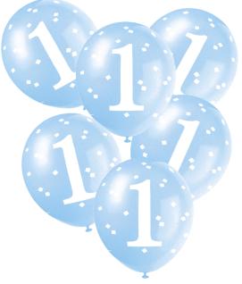 5 Luftballons 1. Geburtstag Vichy Karo in Blau