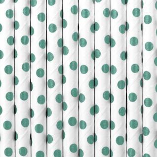 10 Papier Trinkhalme weiß mit dunkelgrünen Punkten