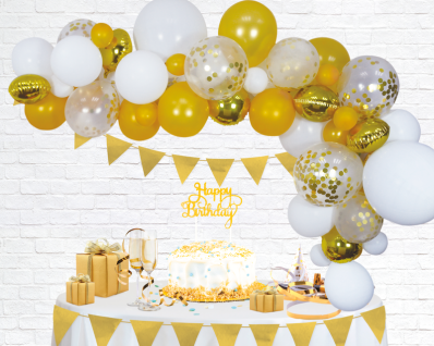 DIY Ballongirlanden 72 Teile Set in Weiß und Gold