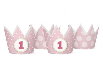 4 Party Krönchen Rosa - inkl. Aufkleber zum Ersten Geburtstag