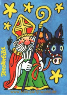 Fensterbild Postkarte Weihnachtsmann mit Esel