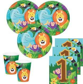 32 Teile fröhliche Dschungel Party 1. Geburtstags Deko Set für 8 Personen