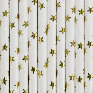 10 Papier Trinkhalme gold weiß Sterne