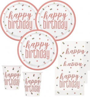 32 Teile Happy Birthday Urban Apricot Geburtstag Party Deko Set 8 Personen