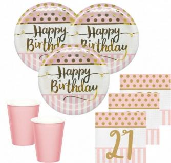 36 Teile Pink Chic Party Deko Set zum 21. Geburtstag in Rosa und Gold Glanz für 8 Personen