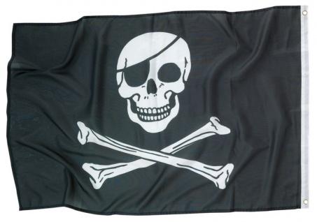 Piraten Flagge aus Stoff mit Totenkopf - Vorschau