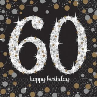 48 Teile zum 60. Geburtstag Gold Glitzer für 16 Personen - Vorschau 4