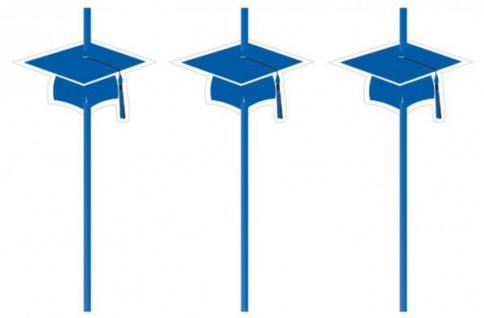6 Trinkhalme Abi Examen Party Blau