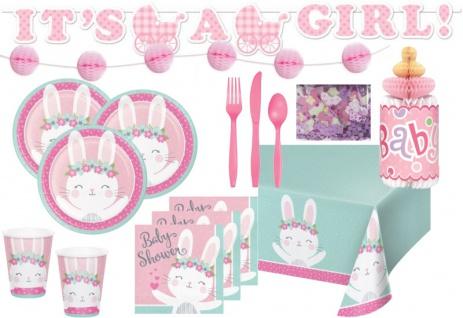 XXL 61 Teile rosa Häschen Party Deko Set zur Babyparty für 8 Personen