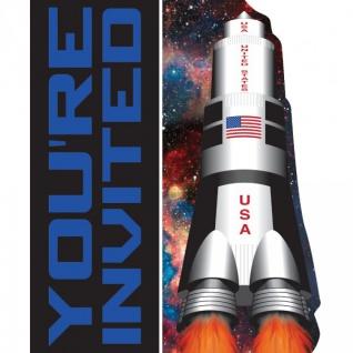 8 Einladungskarten Weltraum Mission