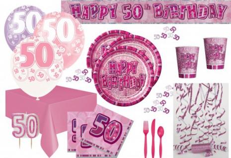 50. Geburtstag Party Set - 75 Teile für 8 Personen Pink - Vorschau 1