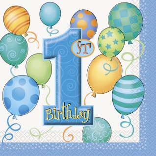 16 Servietten Erster Geburtstag blaue Ballons