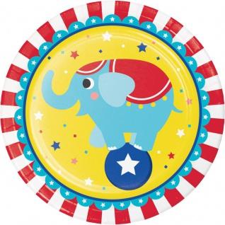 8 Papp Teller Zirkus Party