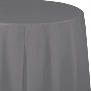Runde Plastik Tischdecke Grau 208 cm