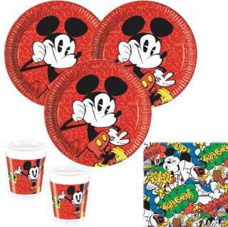 36 Teile Disney Micky Maus Retro Party Deko Basis Set - für 8 Kinder