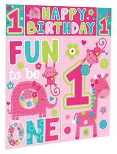 XXL Wandposter 1. Geburtstag Spaß Rosa