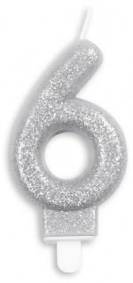 Glitzer Zahlenkerze in Silber 6