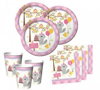 48 Teile 1. Geburtstag Kleiner Waschbär Rosa Party Set 16 Personen - Vorschau 1