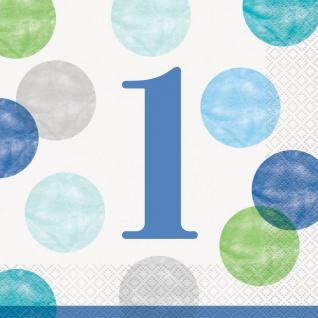 16 Servietten 1. Geburtstag Blaue Punkte