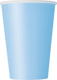 10 große Papp Becher Hellblau
