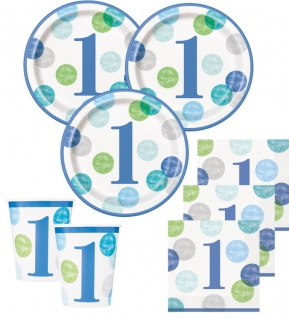 32 Teile Erster Geburtstag Blaue Punkte Party Deko Set 8 Personen