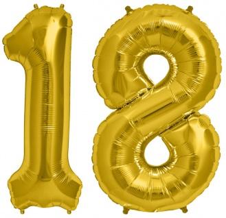 Folien Ballon Zahl 18 in Gold - XXL Riesenzahl 86 cm zum 18. Geburtstag in Gold