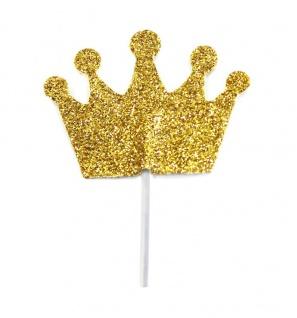 12 glitzernde goldene Kronen Cupcake oder Kuchen Picker
