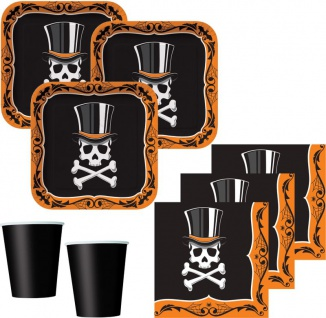 32 Teile Halloween Ball Deko Set Totenkopf mit Zylinder 8 Personen