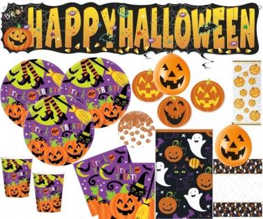 XXL 68 Teile Halloween Deko Set Fröhliches Halloween für 8 Personen