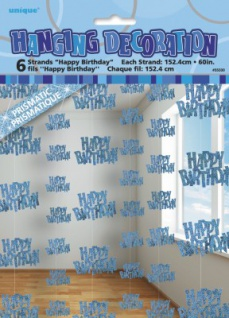 6 Happy Birthday Party Glitzer Girlanden Blau